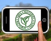 純粋で健康的なスマート フォンで自然な 100% を示しています — ストック写真