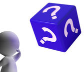 Question Mark Dice Shows Symbol For Information — Stock Photo