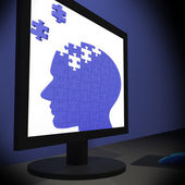 Head Puzzle On Monitor Showing Human Brightness — Stock Photo
