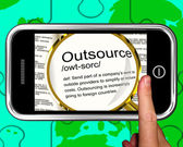 Outsource Definition On Smartphone Showing Freelance Jobs — Stok fotoğraf