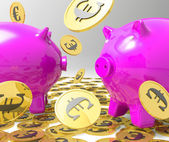 Raining Coins On Piggybanks Showing Profits — Stock Photo