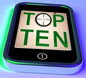 Dziesiątce na smartphone pokazuje wybrane rankingu — Zdjęcie stockowe
