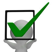 Holding Checkbox Or Check Box Shows Approval Or Checked — Stock Photo