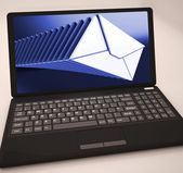 Mails List At Laptop Shows Ongoing Messages — Stock Photo