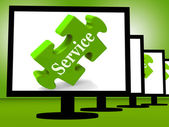 Service On Monitors Showing Community Service — Stock Photo