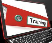 Plik szkolenia na laptopa pokazuje coachingu — Zdjęcie stockowe