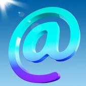 At Sign Shows Email Correspondence on Web — Stock Photo