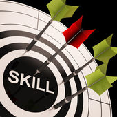 Skill On Dartboard Shows Gained Skills — Stock Photo