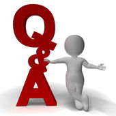 Question and Answer Q&A Sign And 3d Character As Symbol For Supp — Stock Photo
