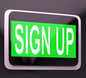 Sign Up Button Showing Website Joining — Stock Photo