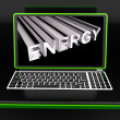 Energy On Laptop Showing Power - Stockfoto