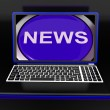 News On Laptop Showing Journalism Show — Stock Photo