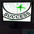 Success On Monitor Shows Progress - Stock Photo