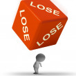Lose Dice Representing Defeat And Loss - Stock Photo