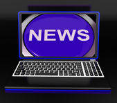 News On Laptop Showing Journalism Show — Stockfoto