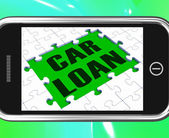 Car Loan On Smartphone Shows Car Rent — Stock Photo