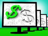 Dollar Symbol On Monitors Showing American Finances — Stock Photo