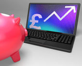 Pound Symbol On Laptop Showing Britain Increases — Stock Photo