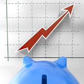 Grandissant graphique montre la réussite commerciale — Photo