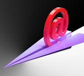 At Sign Aeroplane Shows Correspondence Mail Send — Stock Photo