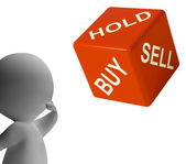 Buy Hold And Sell Dice Represents Stocks Strategy — Stock Photo