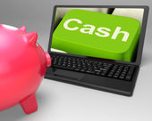 Cash Key On Laptop Showing Money Savings — Stock Photo