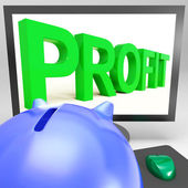 Profit On Monitor Shows Successful Business — Stock Photo