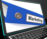 Marketing File On Laptop Shows Advertising Plans — Stock Photo