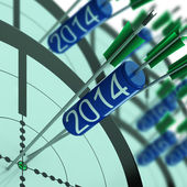 2014 Accurate Dart Target Shows Successful Future — Stock Photo