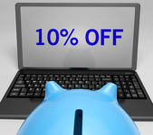 Ten Percent Off On Notebook Showing Reductions — Stock Photo