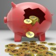 Stock Photo: Broken Piggybank Shows Britain Bank Deposits