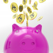 Coins Entering Piggybank Shows International Exchange — Stock Photo