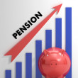 Stock Photo: Raising Pension Chart Shows Improvement