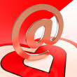 Heart E-mail Shows Romance Through Internet Message - Stock Photo