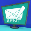 Sent Envelope On Monitor Shows Outbox — Stock Photo