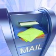 Mail On Mailbox Showing Sending Letters - Stock Photo