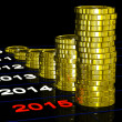 Stock Photo: Coins On 2015 Shows Monetary Expectations