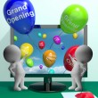 Stock Photo: Grand Opening Balloons Showing New Online Store Launch