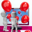 Balloons Coming From Screen Show Online Celebrations — Stock Photo #22259779
