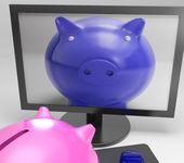 Piggy sur écran montre des médias numériques d'épargne — Photo