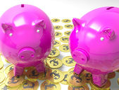 Piggybanks On Pound Coins Shows Wealthy Savings — Stock Photo