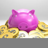 Piggybank Surrounded In Coins Showing Britain Wealth — Stock Photo