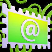 E-mail Stamp Shows Correspondence Mail Via Internet — Stock Photo