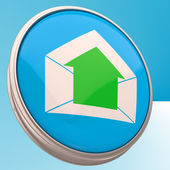 电子邮件符号显示传出电子邮件 — 图库照片