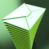 Piled Envelopes Shows Electronic Mailbox Internet Communication — Stock Photo