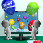 Grand Opening Balloons Showing New Online Store Launch — Stock Photo