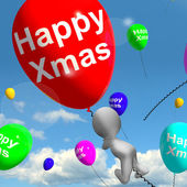 Balloons Floating In The Sky With Happy Xmas Message — Stock Photo