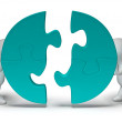 Jigsaw Pieces Being Joined Showing Teamwork And Togetherness — Stock Photo #22269971