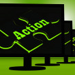 Stock Photo: Action On Monitors Showing Acting