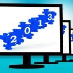 2013 On Monitors Showing Future Technology — Stock Photo